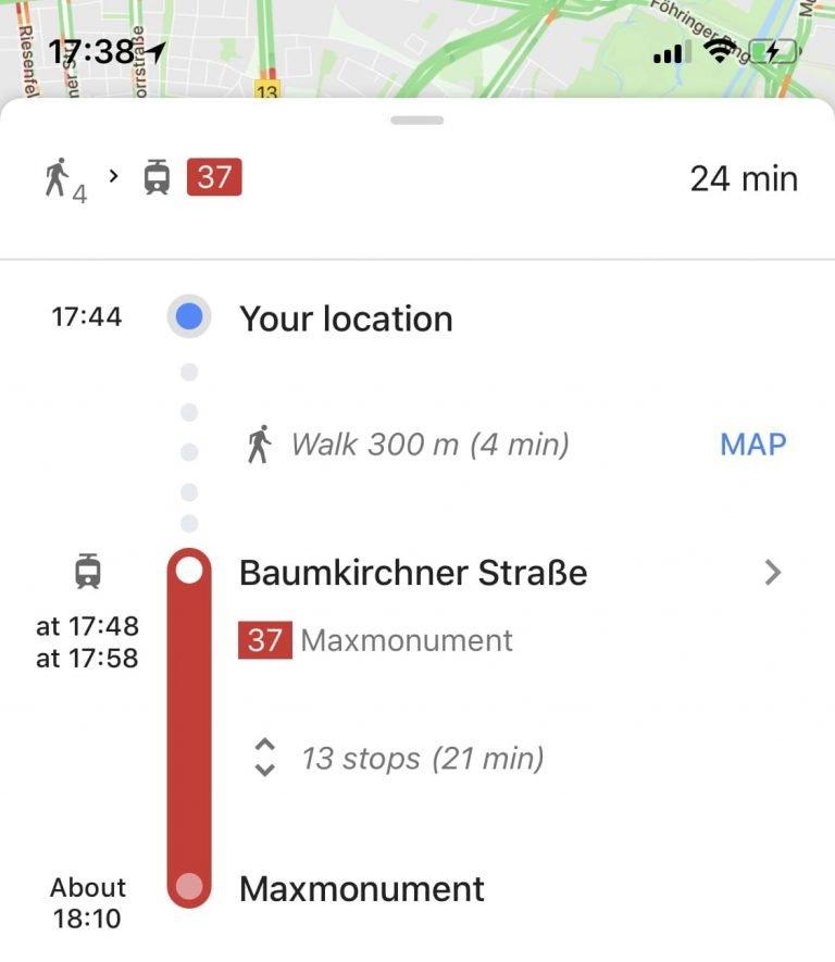 Google Maps строит хорошие маршруты общественным транспортом